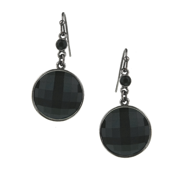 2028 Jet-Tone Black Round Faceted Drop Earrings