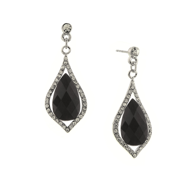 Silver-Tone Black and Crystal Caged Faceted Drop Earrings