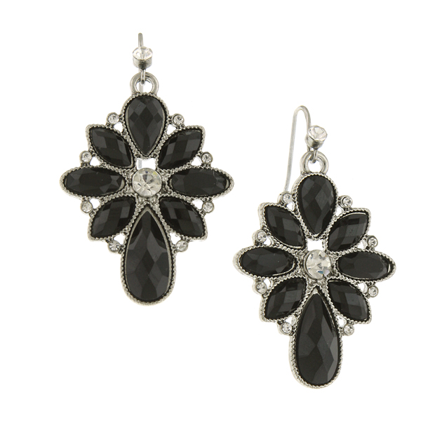 Silver-Tone Black and Crystal Cluster Drop Earrings