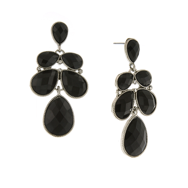 Silver-Tone Black Faceted Multi-Pear Drop Earrings
