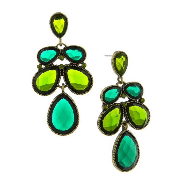 Gold-Tone Green Faceted Multi-Pearshape Drop Earrings