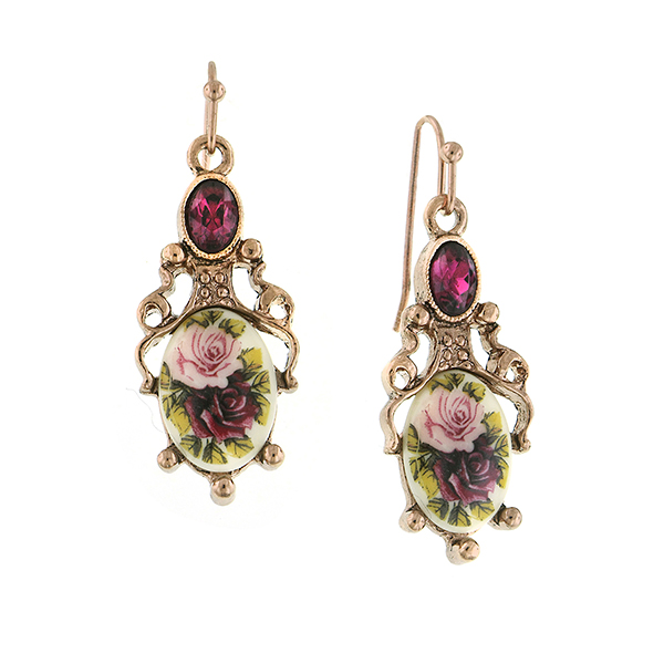 Manor House Rose Gold-Tone Floral Decal Drop Earrings