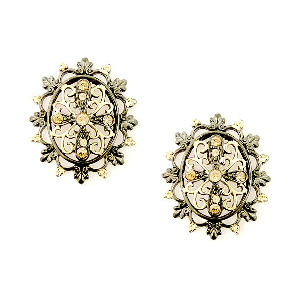 Antiquities Couture Jet and Gold-Tone Light Topaz Crystal Filigree Button Earrings