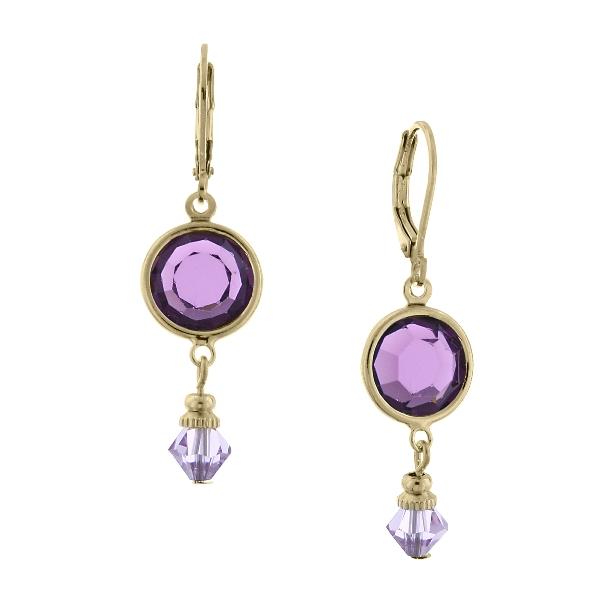 Gold-Tone Purple Swarovski Crystal Drop Earrings
