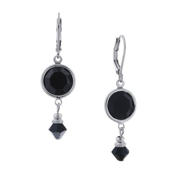 Jet Black Swarovski Drop Earrings