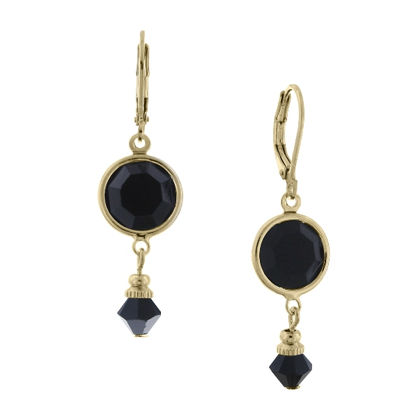 Gold-Tone Jet Black Swarovski Crystal Drop Earrings