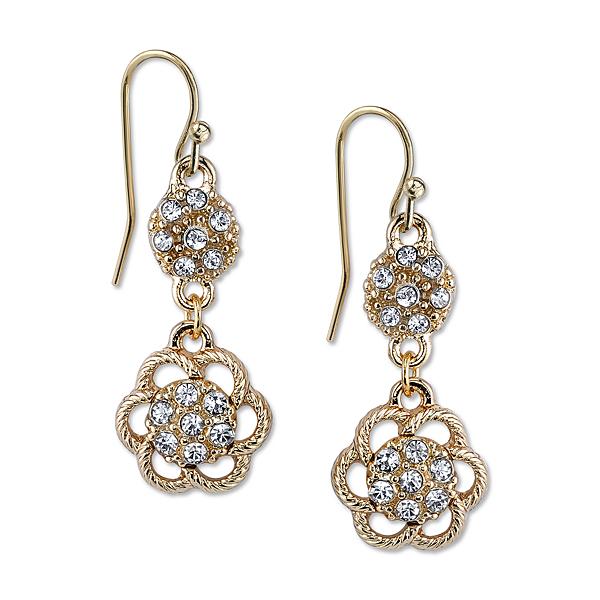 2028 Gold-Tone Crystal Flower Drop Earrings