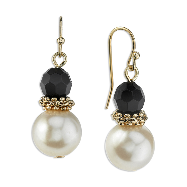 Gold-Tone Simulated Pearl and Black Bead Drop Earrings