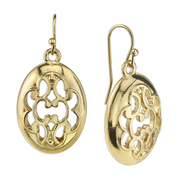 Gold-Tone Filigree Oval Drop Earrings