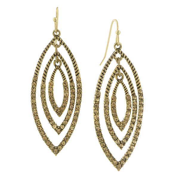 2028 Gold-Tone Light Brown Crystal Drop Earrings