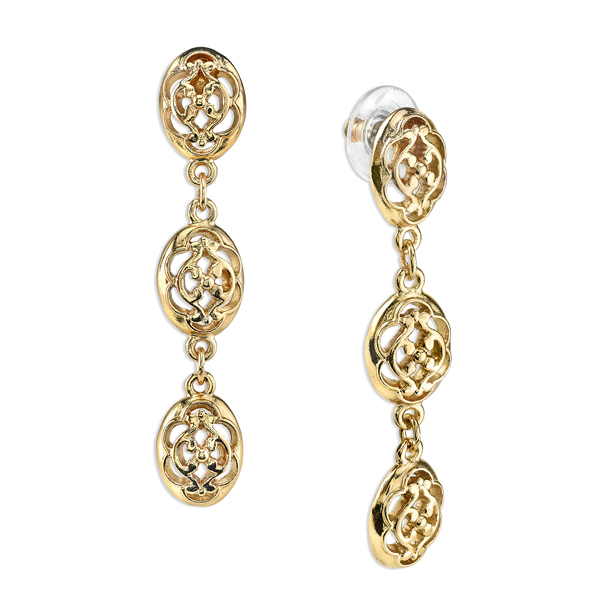 Gold-Tone Filigree Linear Drop Earrings