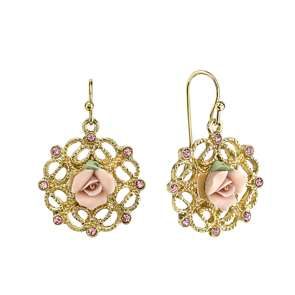 Gold-Tone Pink Porcelain Rose and Pink Crystal Filigree Drop Earrings