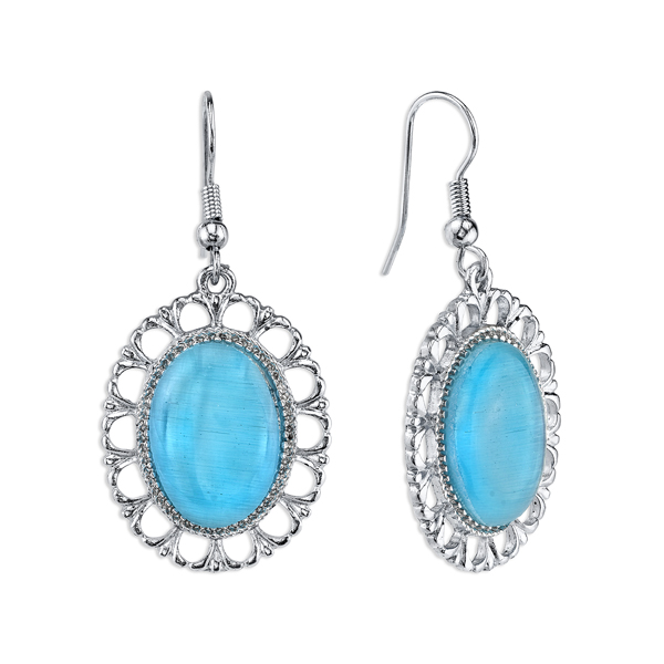 Silver-Tone Aqua Blue Oval Filigree Drop Earrings