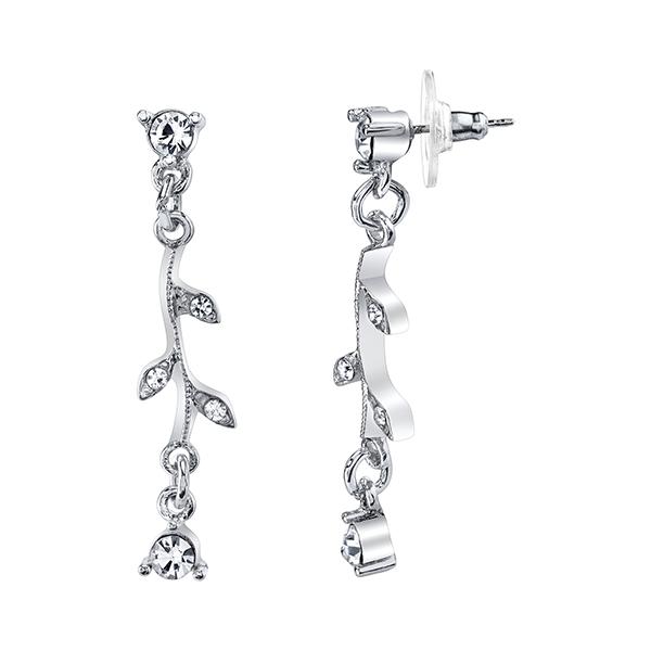 Silver-Tone Crystal Vine Drop Earrings