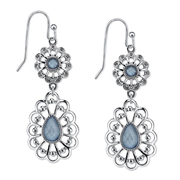 2028 Silver-Tone Filigree Blue Drop Earrings