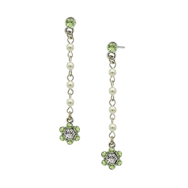 Silver-Tone Faux Pearl and Green Crystal Flower Drop Earrings