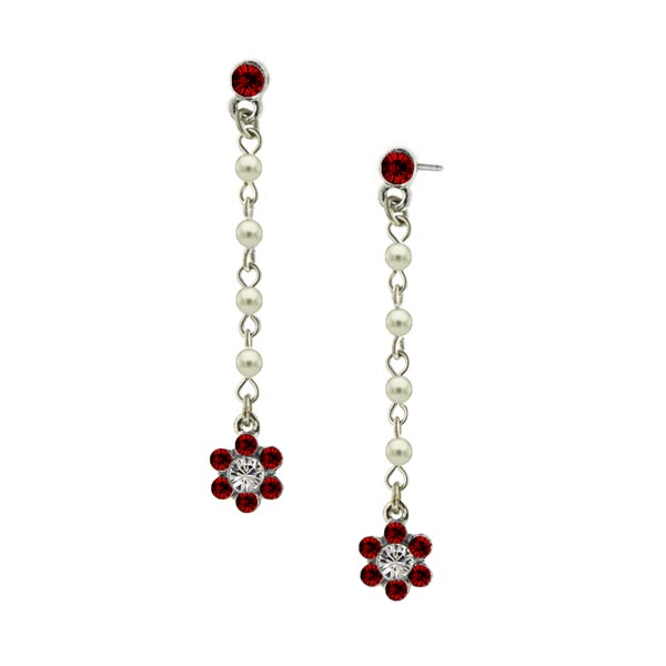 Siam Red Flower Drop Earrings