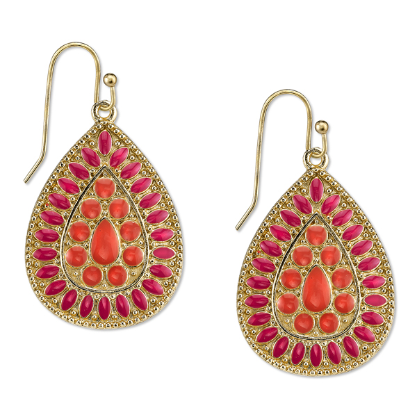 2028 Sunset Gold-Tone Coral Enamel Pear-Shaped Drop Earrings