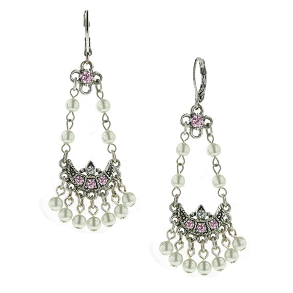 Rose Pink Vintage Pearl Chandelier Earrings