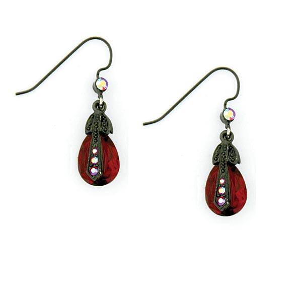 Rouge ET Noir Siam Red Jet Cap Teardrop Earrings