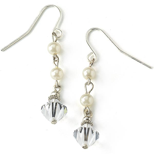 Silver-Tone Simulated Pearl and Crystal Bead Drop Earrings