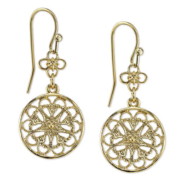 2028 Spring Tailored Gold-Tone Filigree Round Drop Earrings