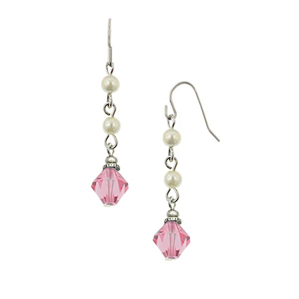 Rose Crystal and Pearl Bead Drop Earrings