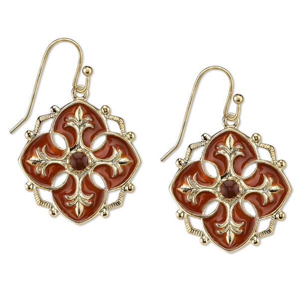 Domenica Gold-Tone Persimmon Orange Enamel Drop Earrings