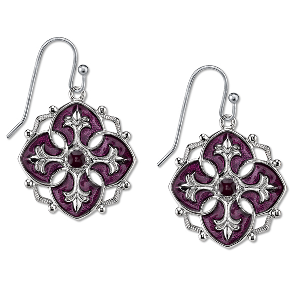 Domenica Silver-Tone Purple Enamel Drop Earrings