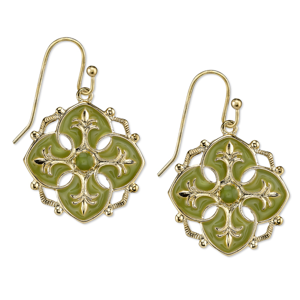 Domenica Gold-Tone Green Enamel Drop Earrings
