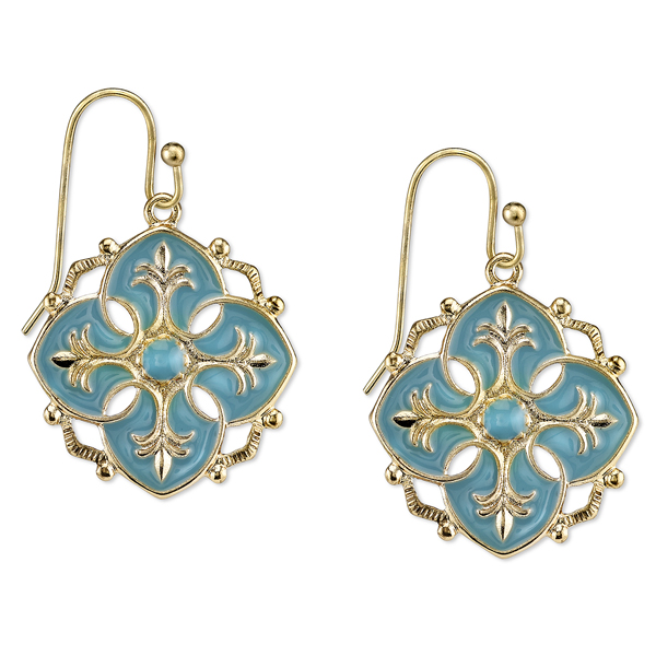 Domenica Gold-Tone Turquoise Enamel Drop Earrings