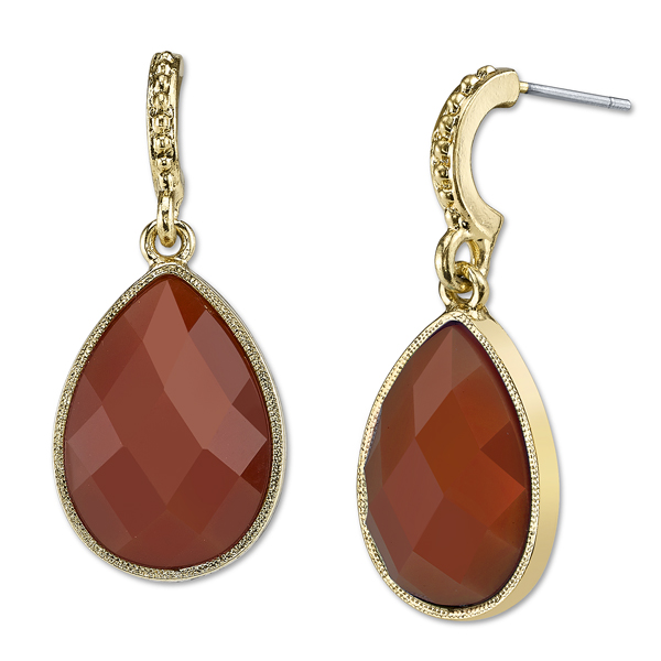 Domenica Gold-Tone Persimmon Orange Pear-Shaped Drop Earrings