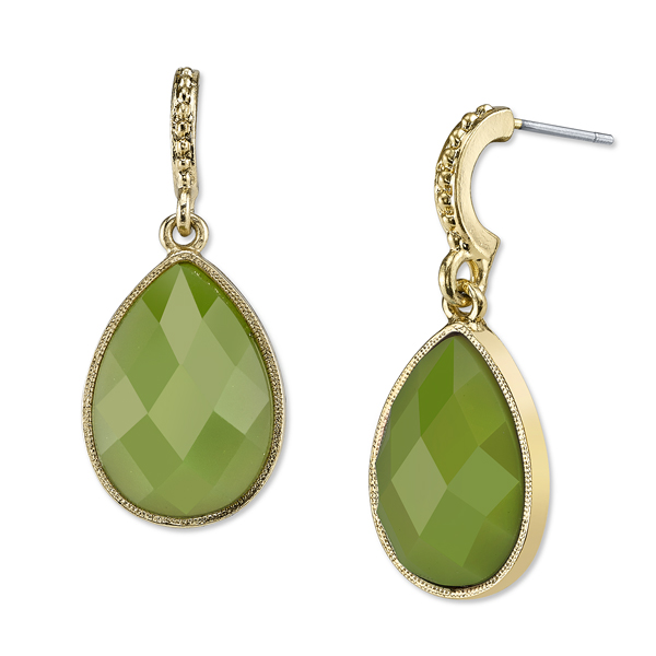 Domenica Gold-Tone Green Pear-Shaped Drop Earrings