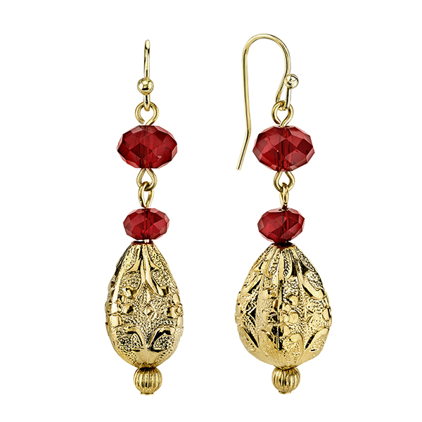 Cyprus Gold-Tone Red Drop Earrings