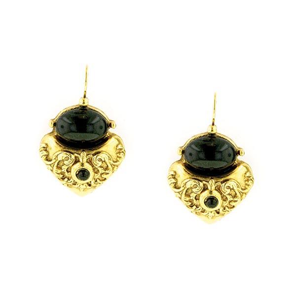 Antiquities Couture Gold-Tone Black Corinthian Sculpted Heart Drop Earrings