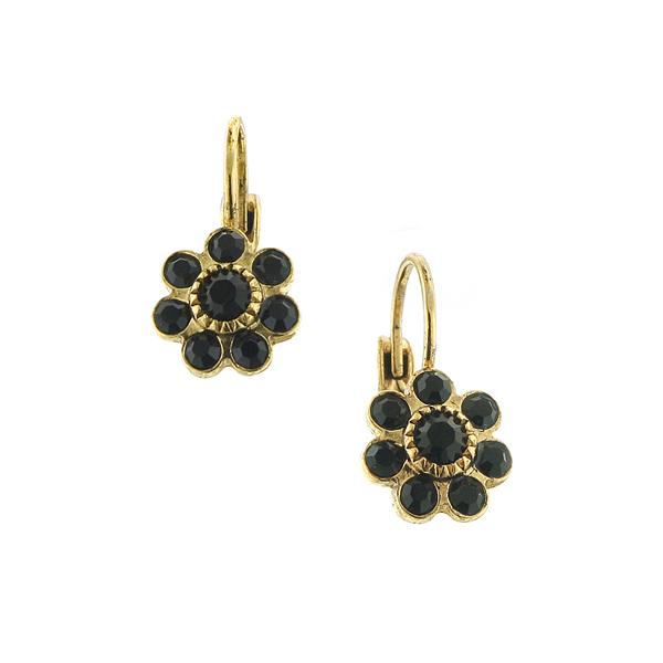 Alex Nicole® Brass-Tone Black Flower Drop Earrings