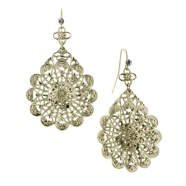 Alex Nicole® De Luca Brass Filigree Flower Drop Earrings