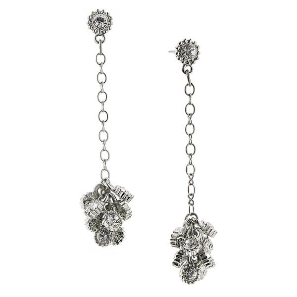 Alex Nicole® De Luca Silver-Tone Sparkle Cluster Linear Drop Earrings