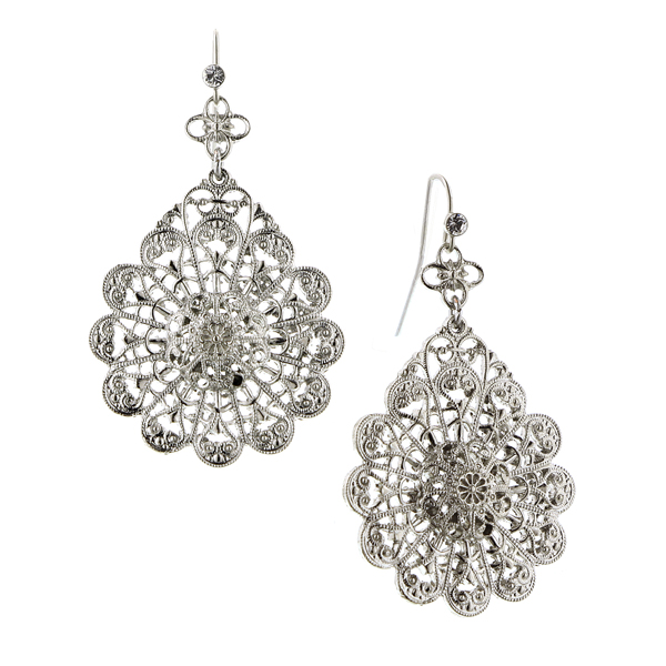 Alex Nicole® De Luca Silver-Tone Flower Knit Filigree Earrings