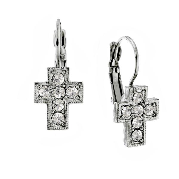 Alex Nicole® Heirlooms Crystal Cross Earrings