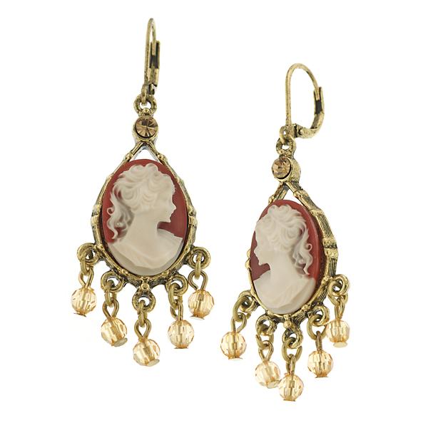 Vintage Escapade Cameo Chandelier Earrings