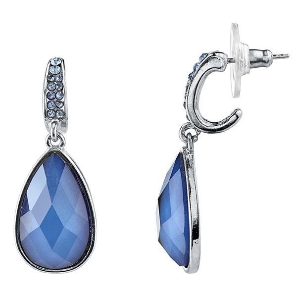Tuileries Silver-Tone Blue Pear-Shaped Drop Earrings