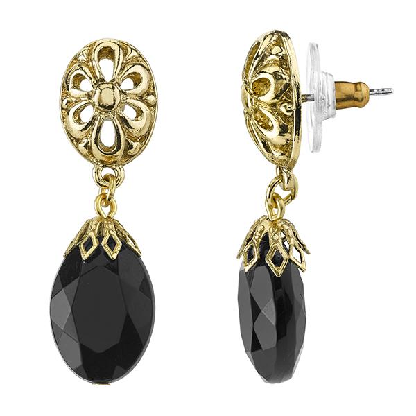 Tuileries Gold-Tone Black Filigree Accent Drop Earrings