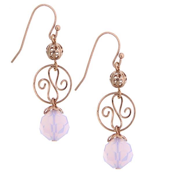 2028 Rose Gold-Tone Pink Bead Drop Earrings