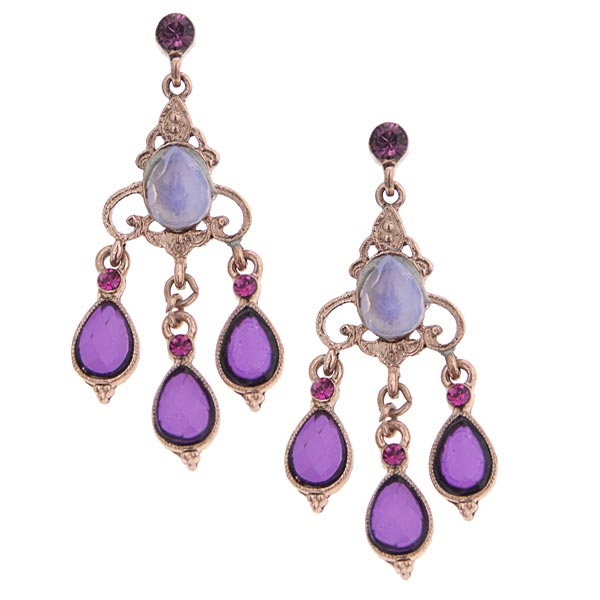Rose Gold-Tone Purple Chandelier Earrings