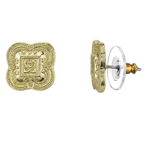 Golden Summer Gold-Toned Clover Button Earrings