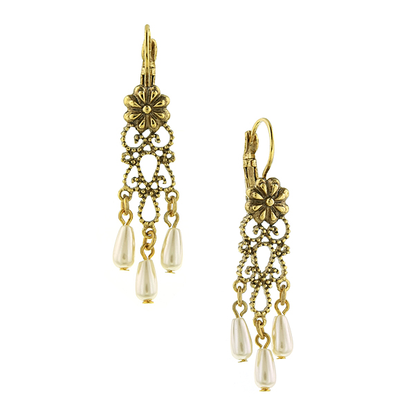 Antiquities Couture Filigree Chandelier Pearl Drop Earrings