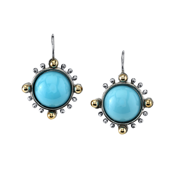 2028 Palm Beach Two-Tone Imitation Turquoise Round Drop Earrings