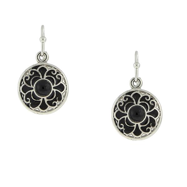 2028 Gramercy Silver-Tone Black Enamel Round Drop Earrings