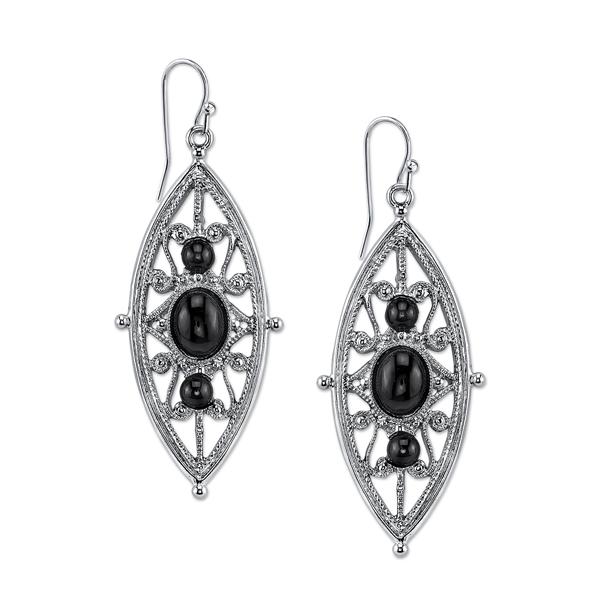 2028 Gramercy Silver-Tone Black Filigree Drop Earrings